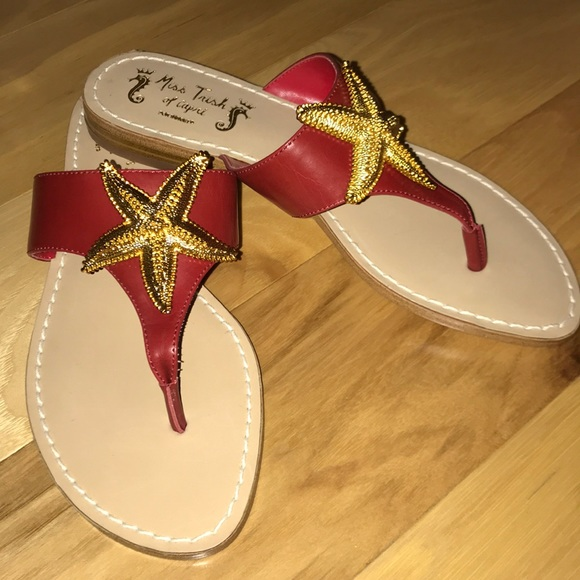 2d1489bbfcc6 Miss Trish Red Leather Thong sandal Gold Starfish